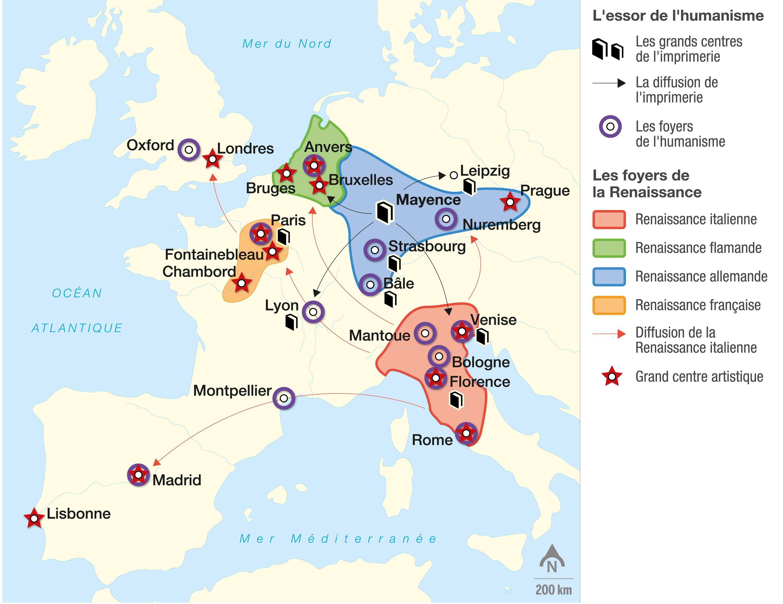 <stamp theme='his-green2'>Doc. 1</stamp> Les foyers de l'humanisme et de la Renaissance en Europe