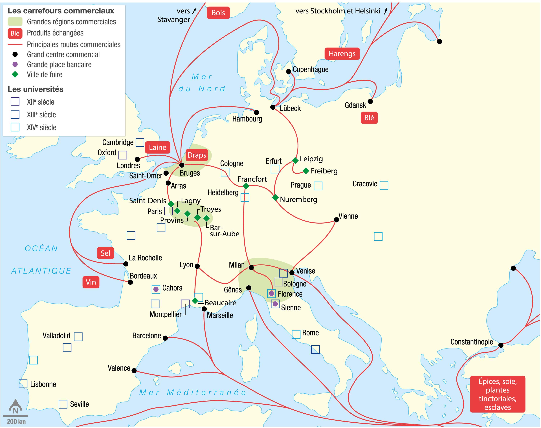 <stamp theme='his-green2'>Doc. 1</stamp> Les villes, centres commerciaux et intellectuels européens du XIIIe au XVe siècle