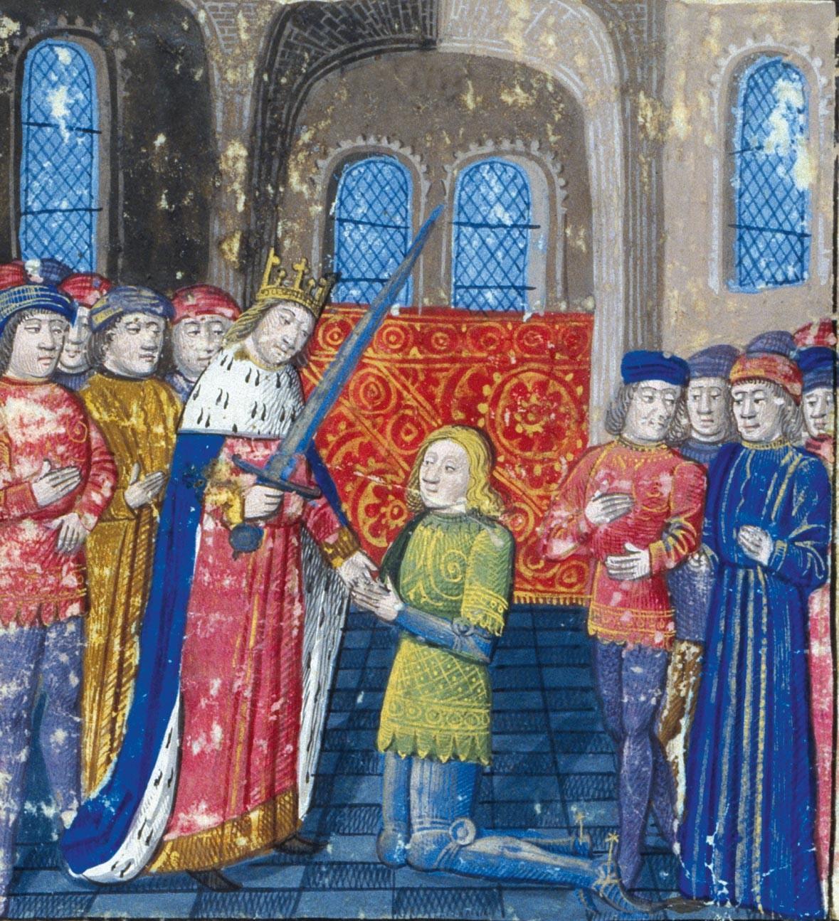 <stamp theme='his-green2'>Doc. 3</stamp> L'adoubement d'un chevalier par son seigneur