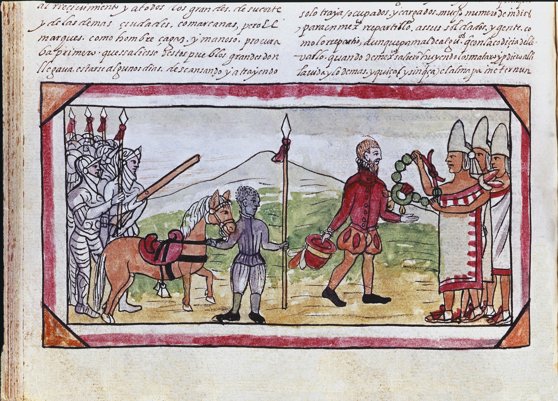 <stamp theme='his-green2'>Doc. 2</stamp> La rencontre entre Cortés et l'empereur aztèque Moctezuma