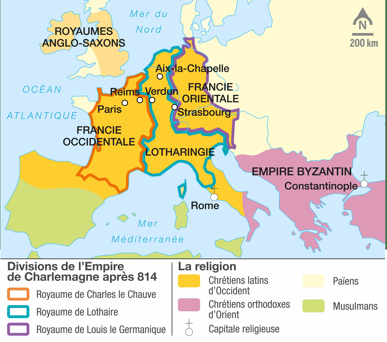 <stamp theme='his-green2'>Doc. 2</stamp> Le partage de l'Empire carolingien au traité de Verdun (843)