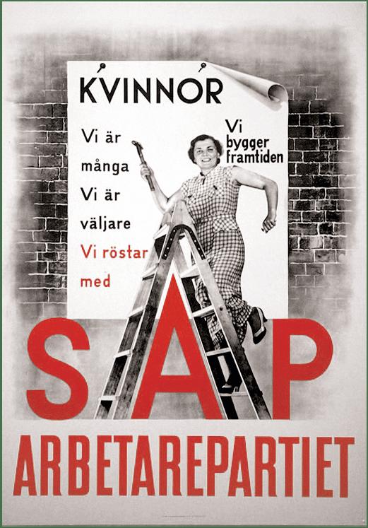 Affiche électorale du Parti social-démocrate suédois, 1936.