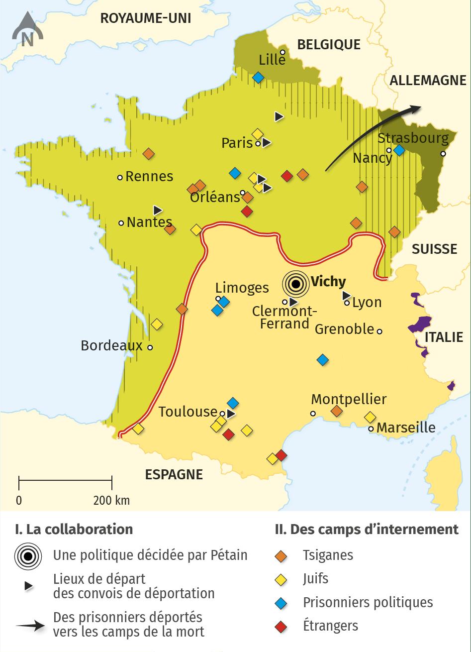 carte sur les camps d'internement et déportations