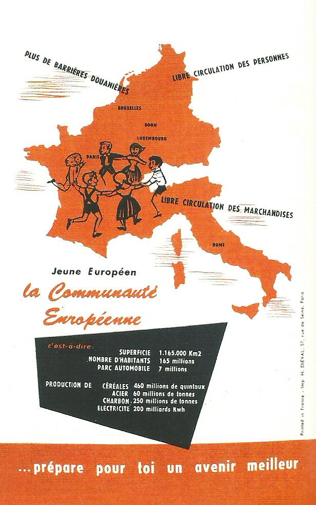 Affiche française imprimée à l'occasion de la signature des traités de Rome, 1957.