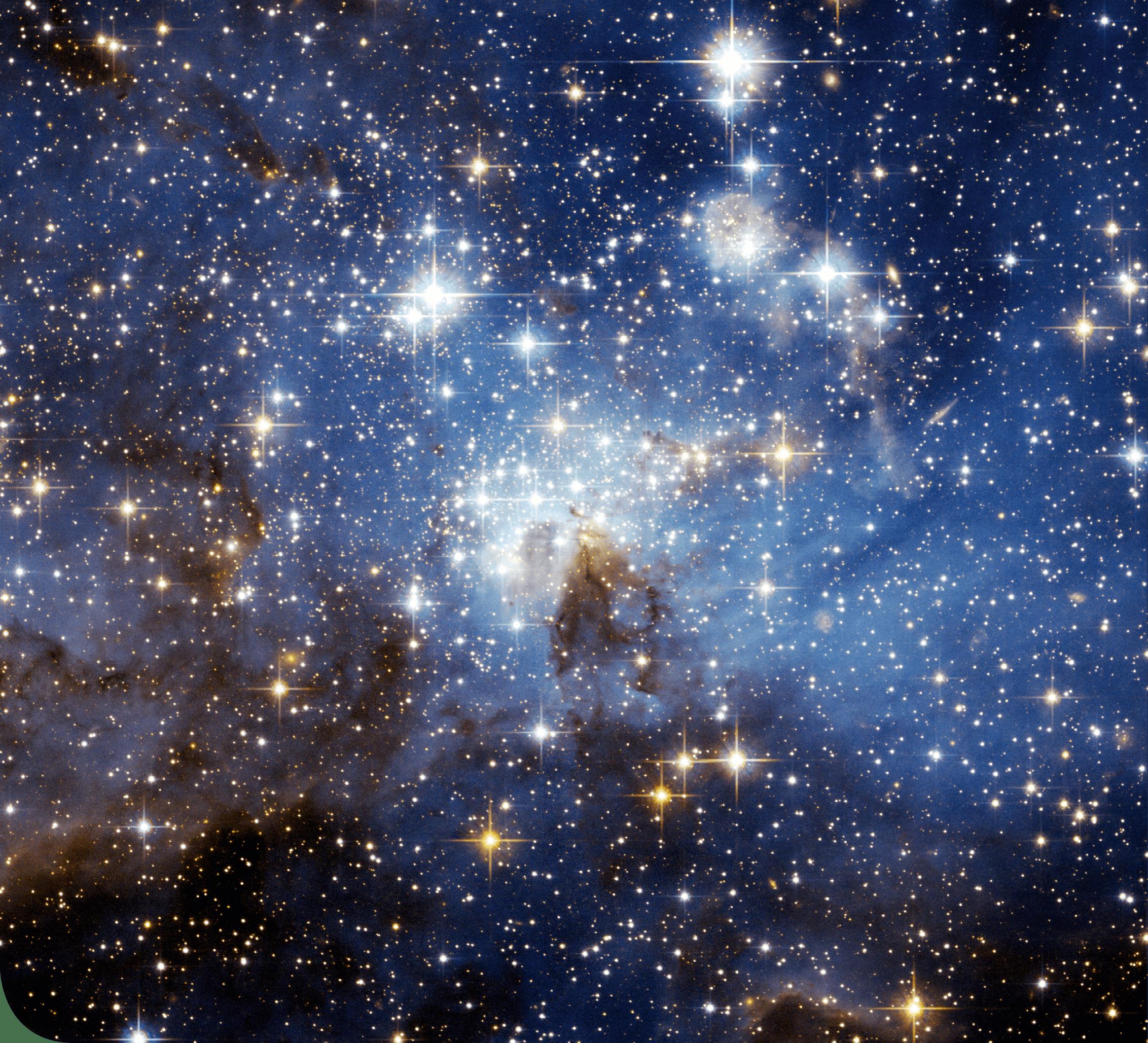 Ciel étoilé montrant la forme des étoiles
