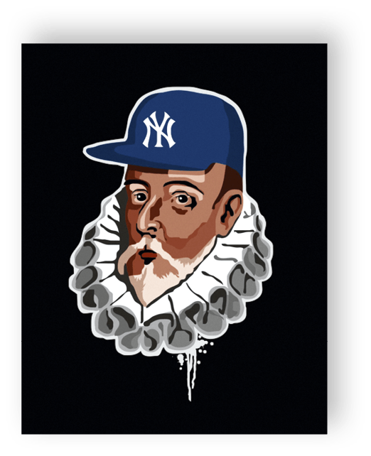 Cervantes con gorra, ilustración de David Navascues