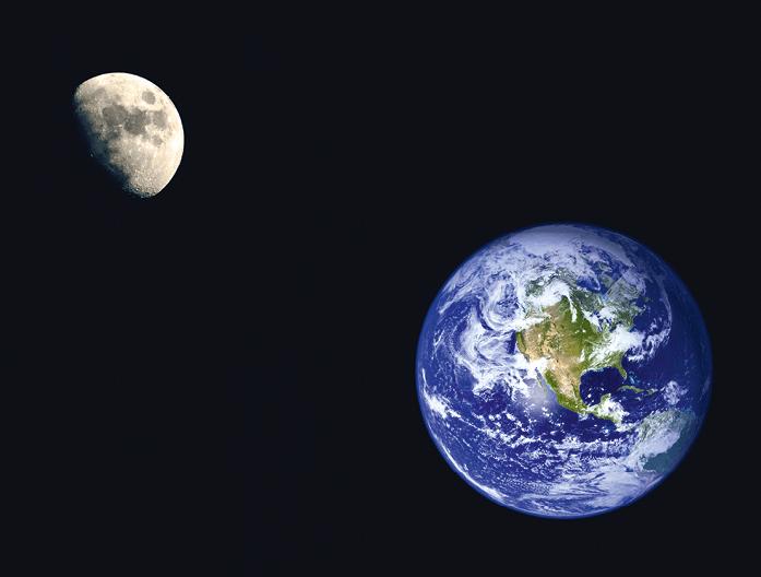 Photographie satellite de la Terre et de la Lune