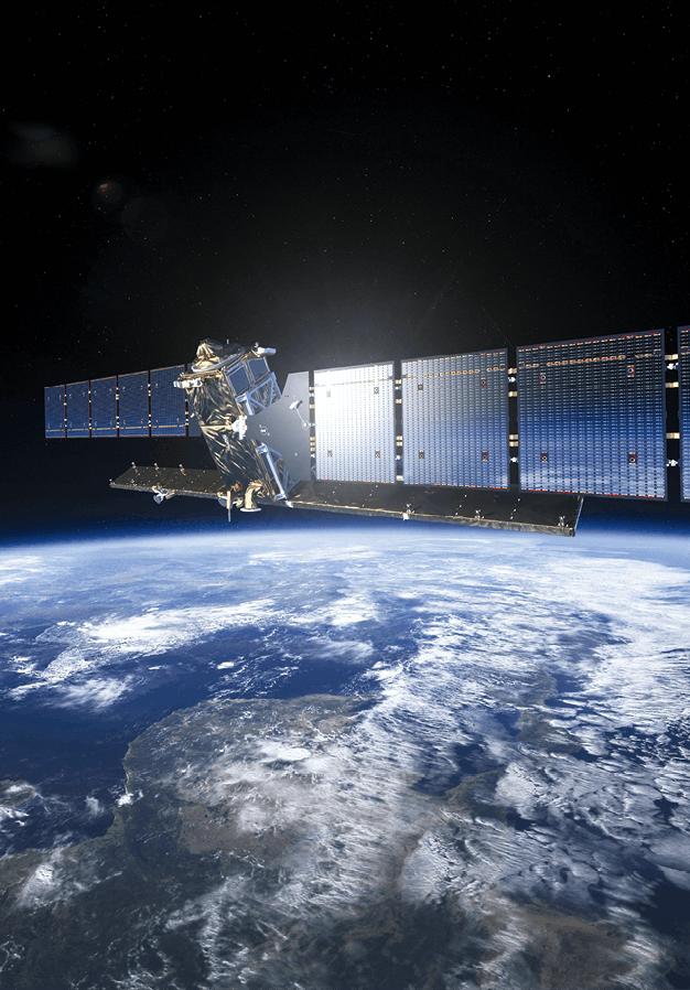 Photograhie d'un satellite en orbite de la Terre
