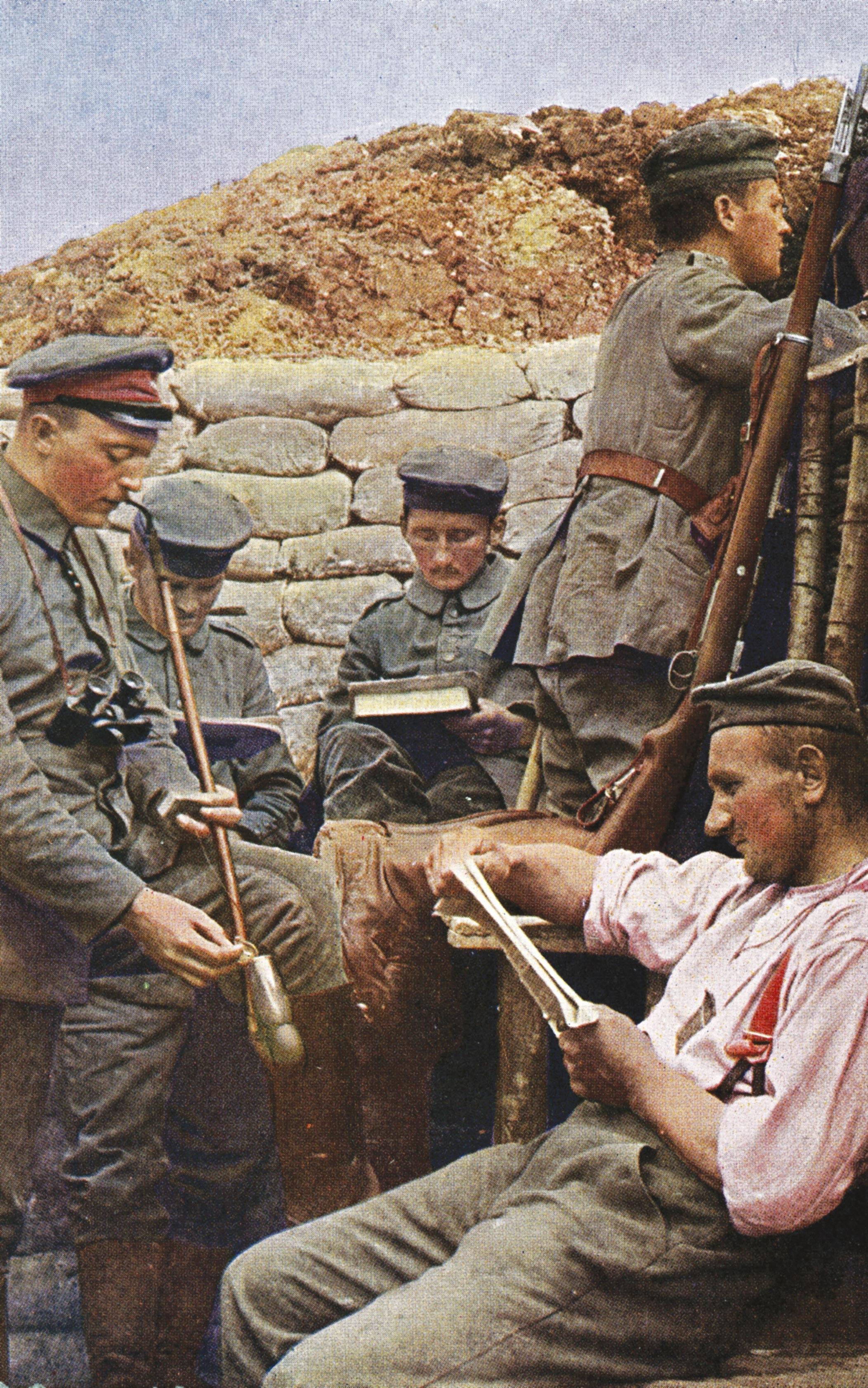 Guerre de position : pause dans une tranchée allemande