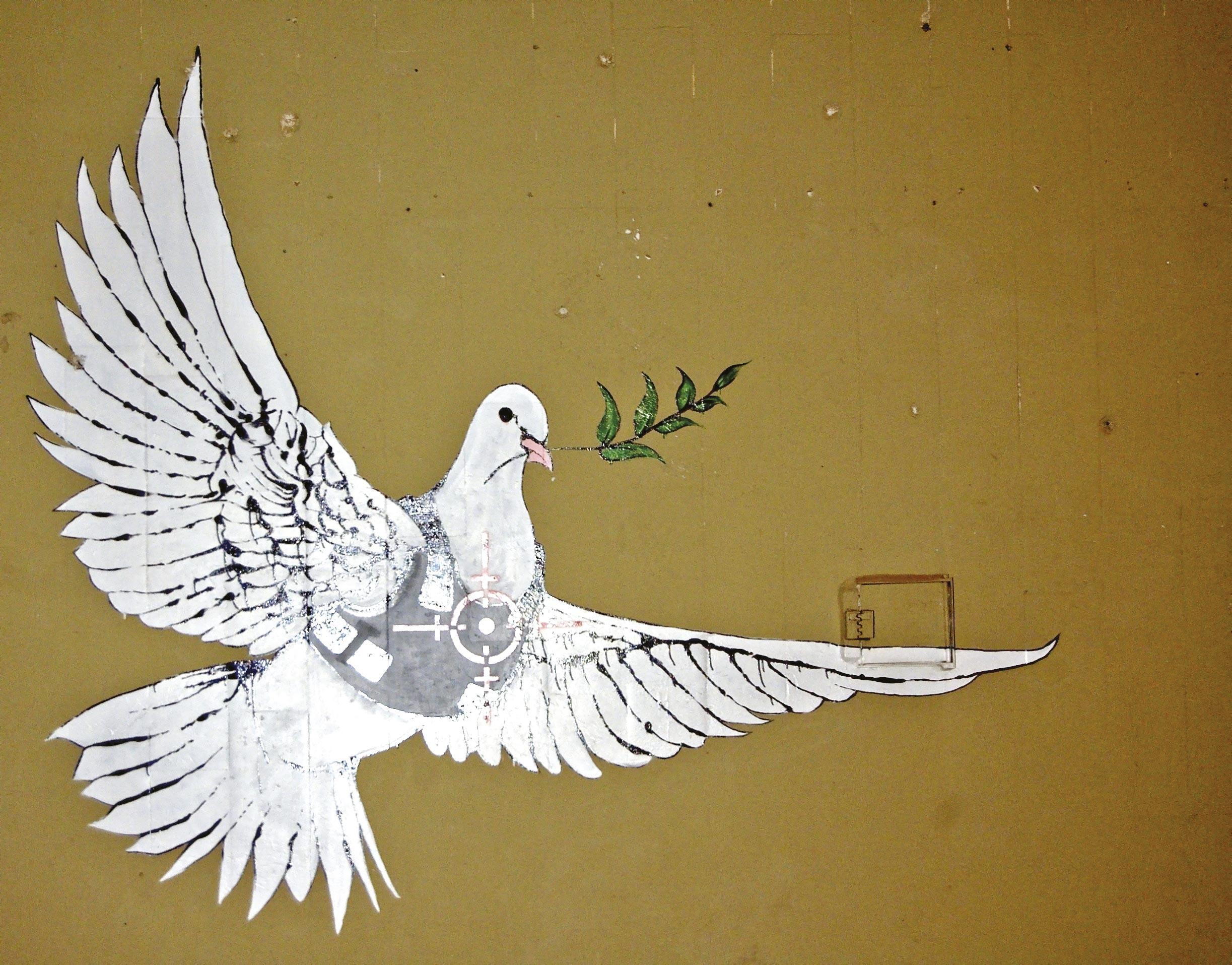 Colombe de la paix avec gilet pare-balle