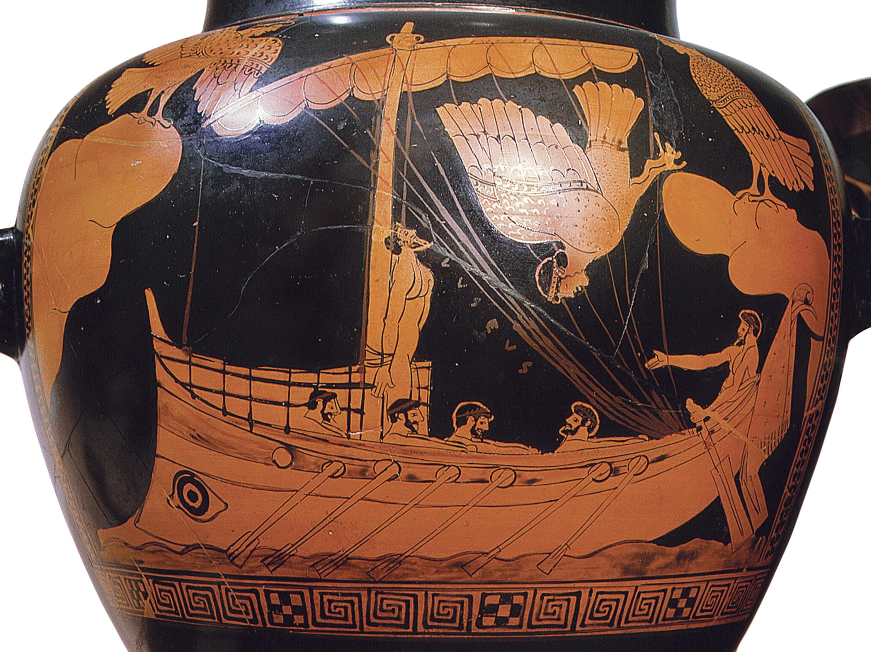Stamnos (vase dans lequel était conservé le vin) à figures rouges