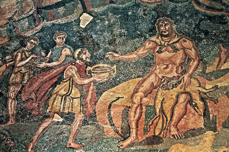 Ulysse offre une coupe  de vin au cyclope  Polyphème