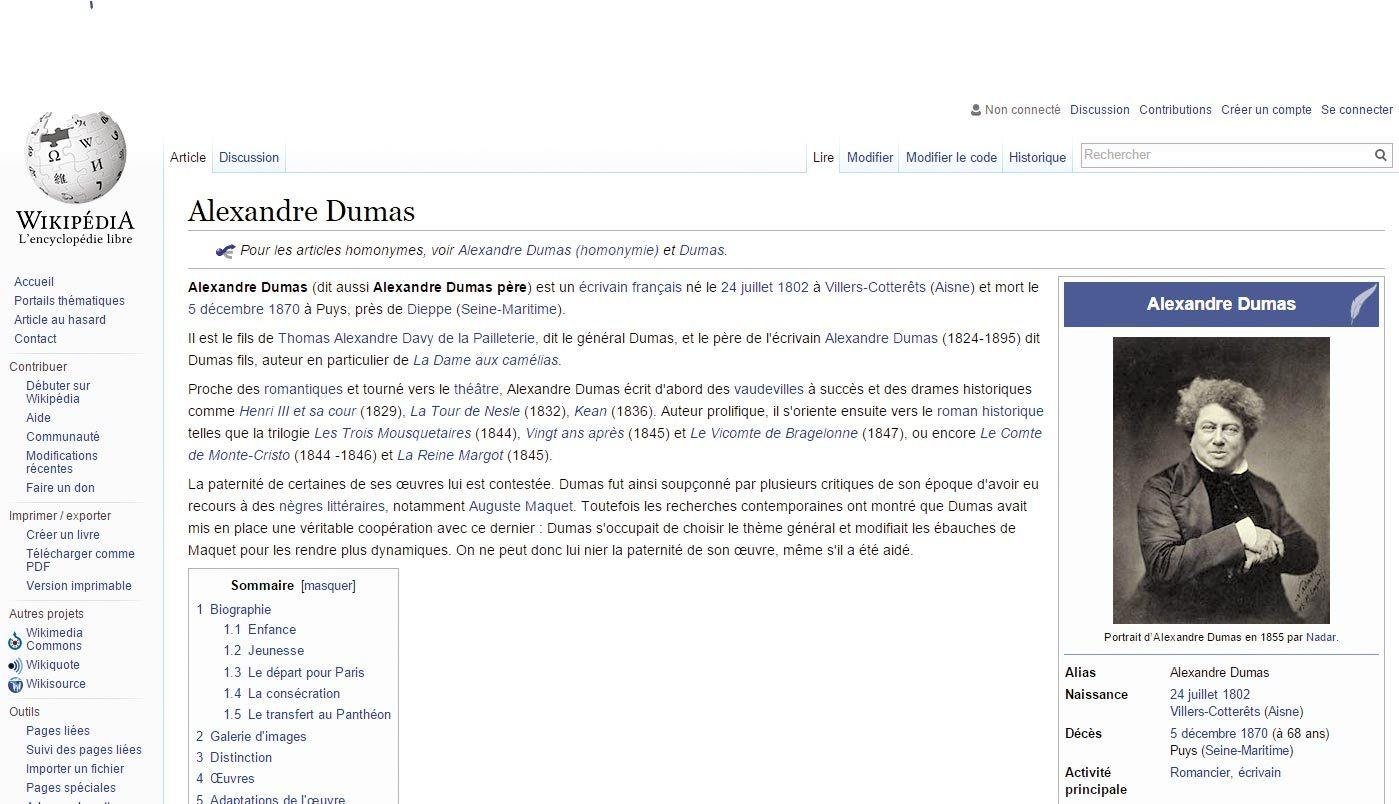 Page Wikipédia « Alexandre Dumas »