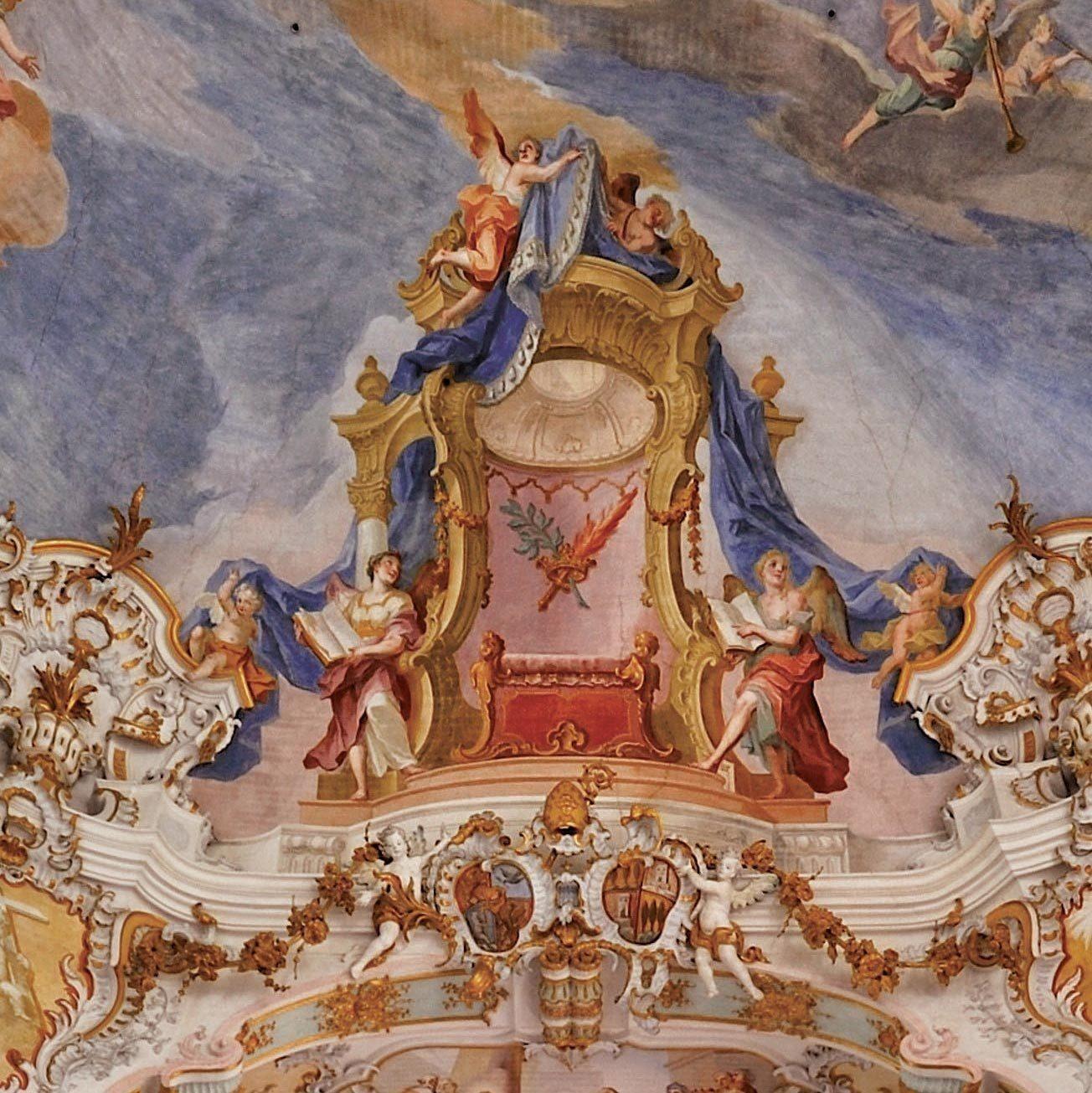 Vue intérieure de l'église de Wies (Bavière),