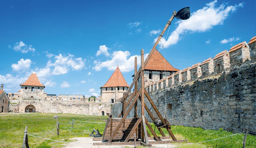 Reconstitution d'un trébuchet médiéval