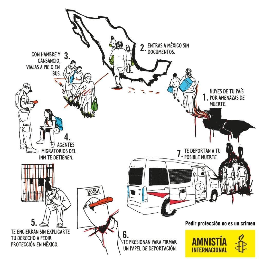 Cartel de la campaña #TeDoylaBienvenida, Amnistía Internacional Américas, 2018