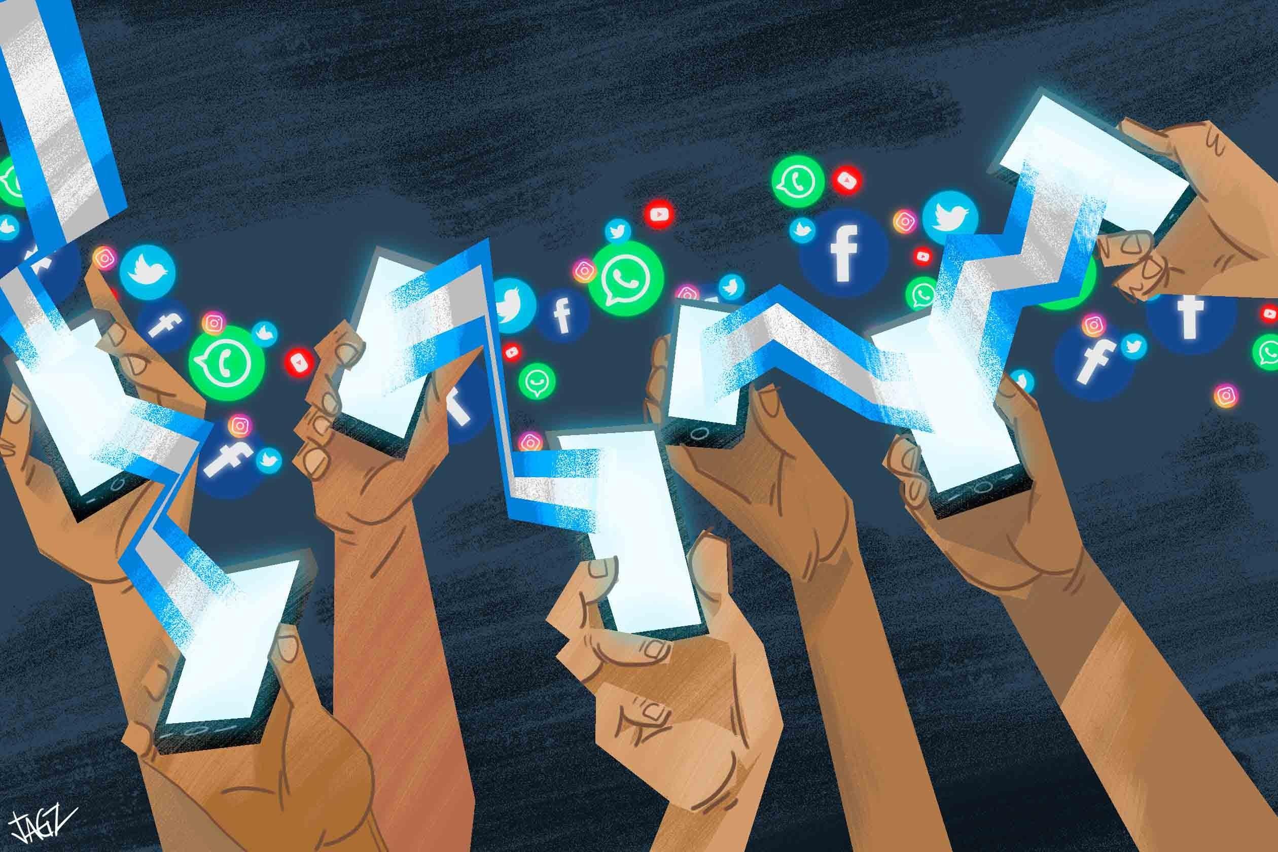 Teléfonos moviles y redes sociales. Ilustración de Juan García