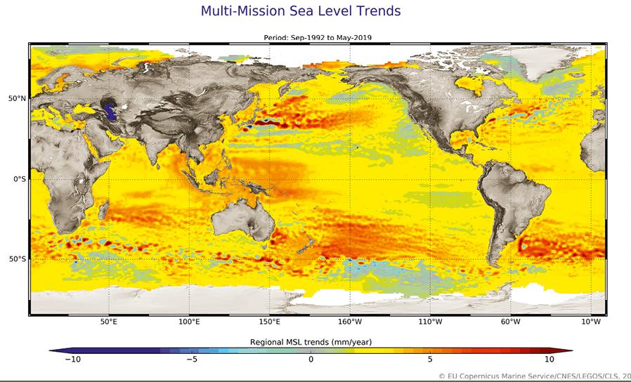 Chapitre 13 - Exercice 30 - Cartographie du niveau d'élévation des océans