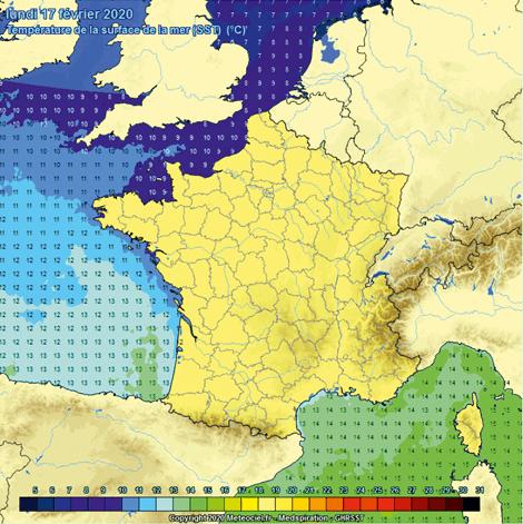 Chapitre 13 - Exercice 31 - Cartographie de la température de surface des mers et de l'océan Atlantique