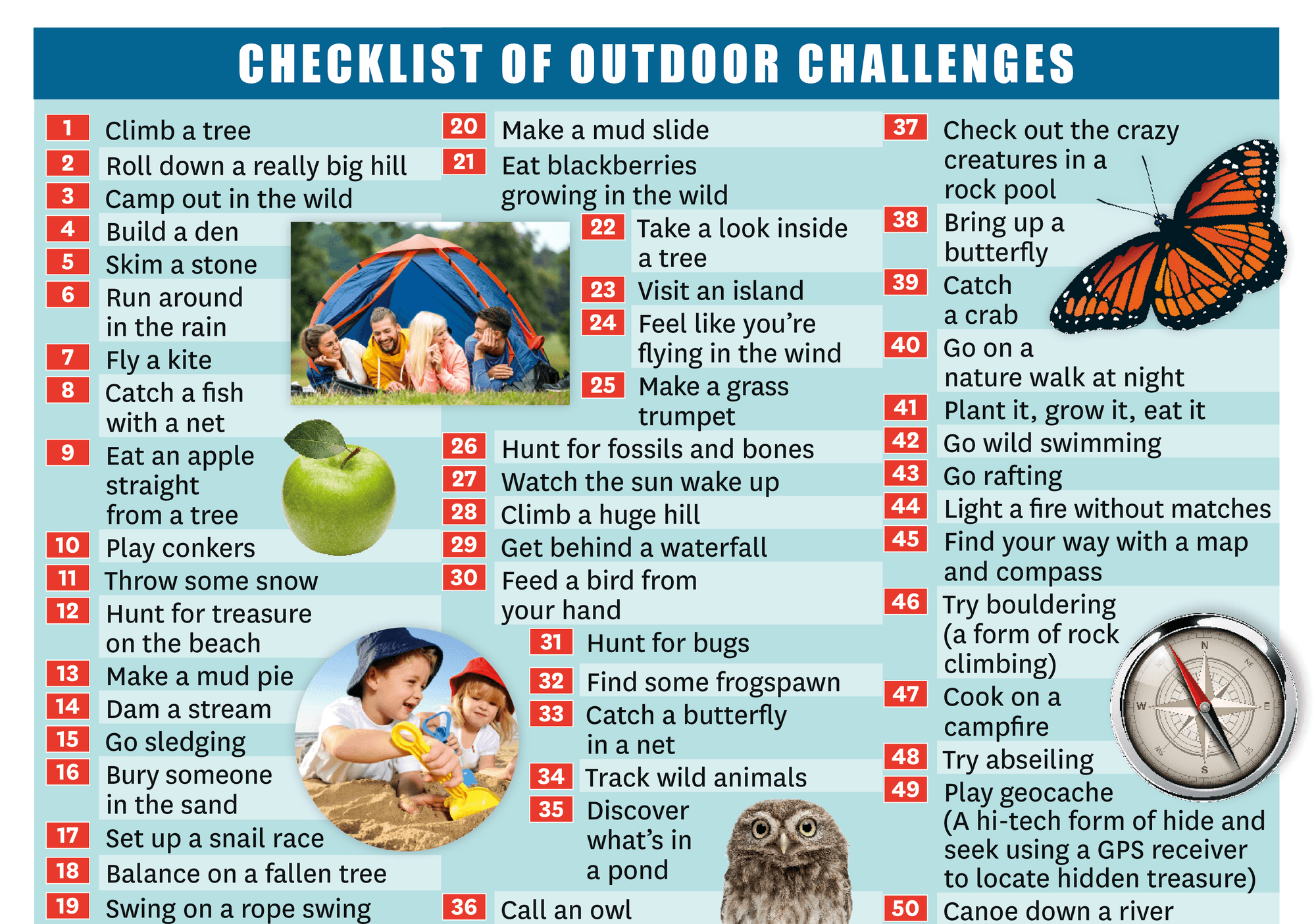 Checklist of outdoor challenges
