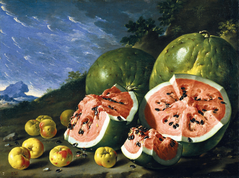 >Bodegón con sandías y manzanas en un paisaje