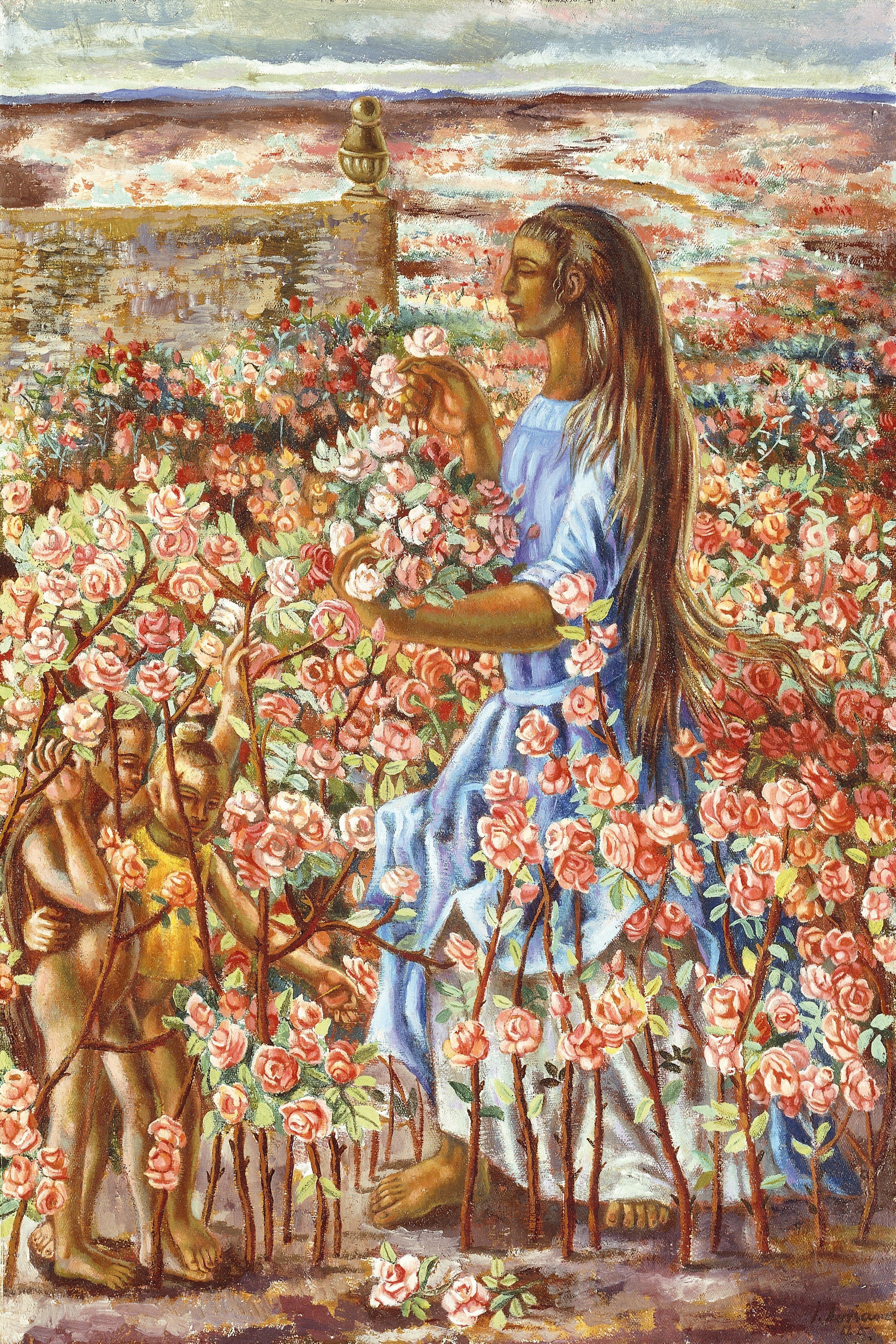 Mujer en un Jardín