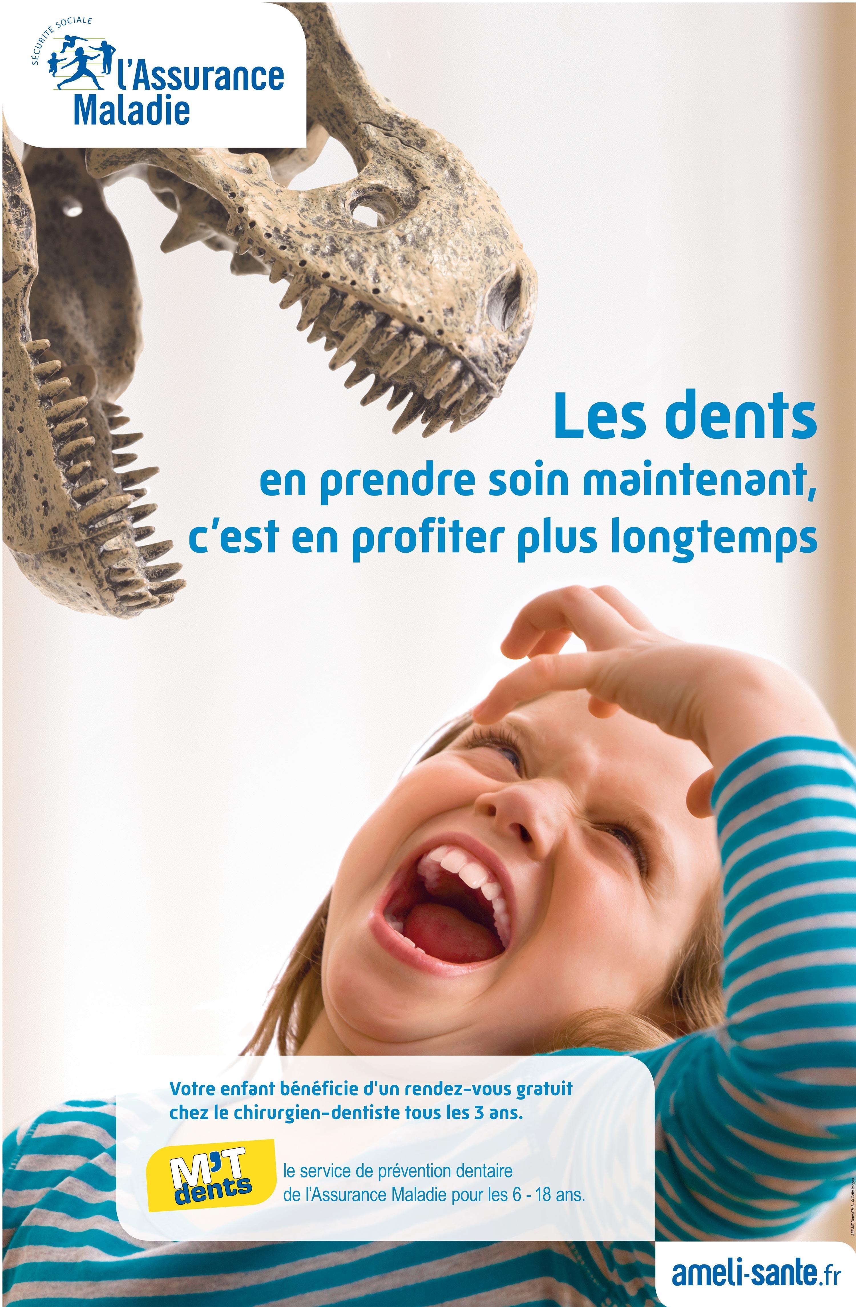 <stamp theme='svt-green1'>Doc. 6</stamp> Une affiche pour l'opération « M'T dents » financée par l'Assurance Maladie.