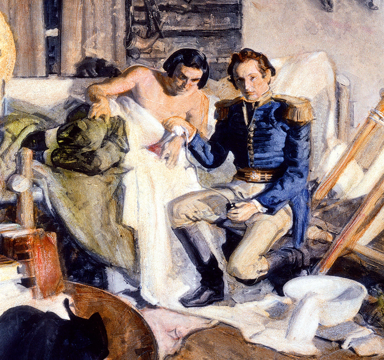 <stamp theme='svt-green1'>Doc. 1</stamp> Une illustration d'une expérience menée en 1822 par le Dr William Beaumont sur un trappeur canadien.