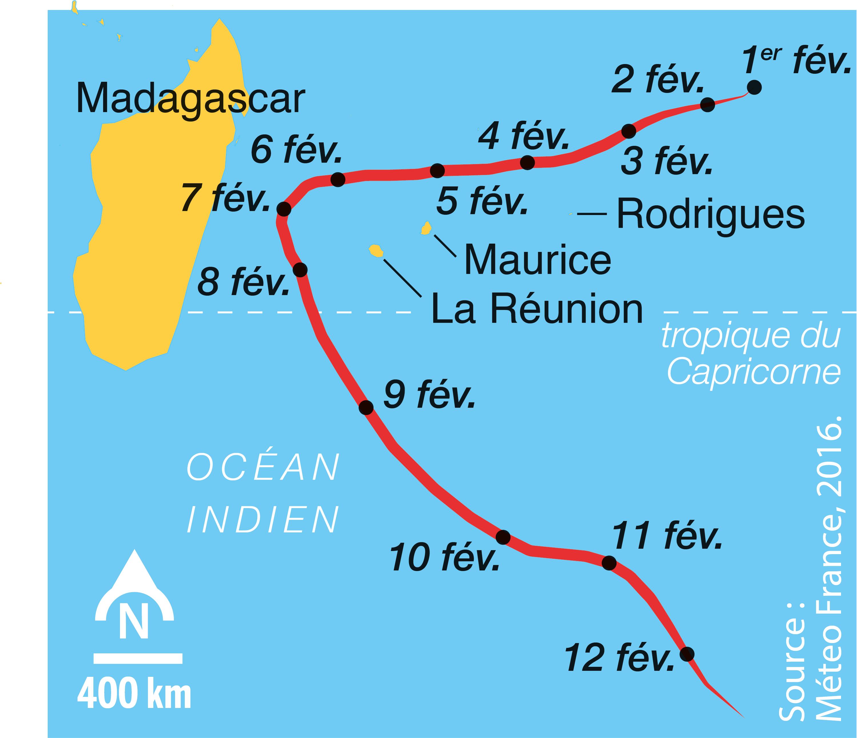 <stamp theme='svt-green1'>Doc. 2</stamp> La trajectoire du cœur du cyclone Gaël (février 2009).