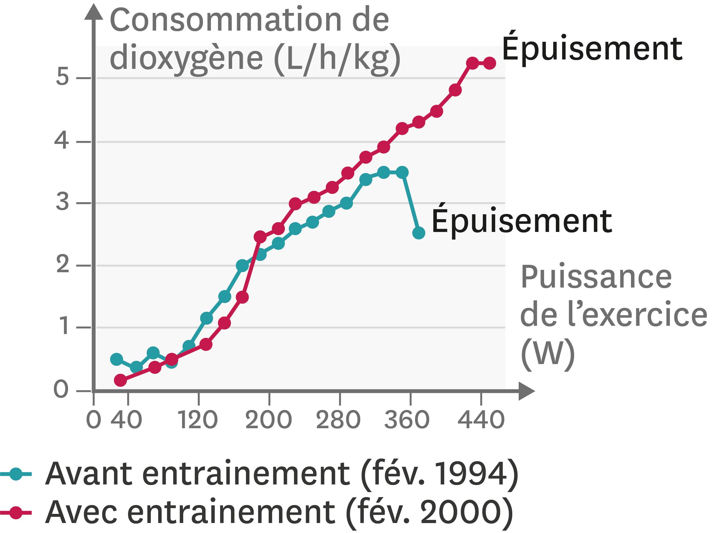 <stamp theme='svt-green1'>Doc. 4</stamp> L'effet de six années d'entrainement sur la consommation de dioxygène d'un individu.
