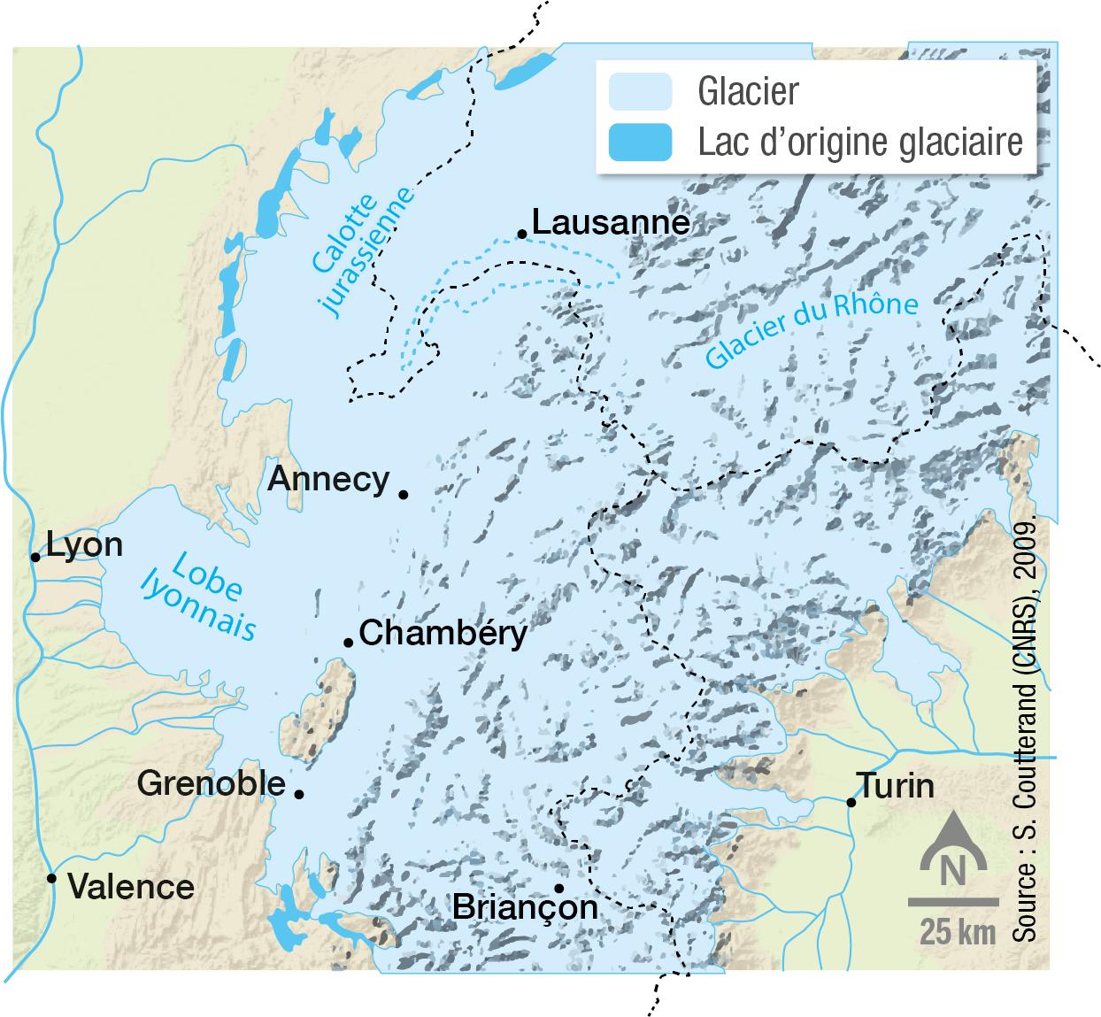 <stamp theme='svt-green1'>Doc. 6</stamp> Les glaciers des Alpes au maximum de la glaciation de Würm, il y a 40 000 ans.