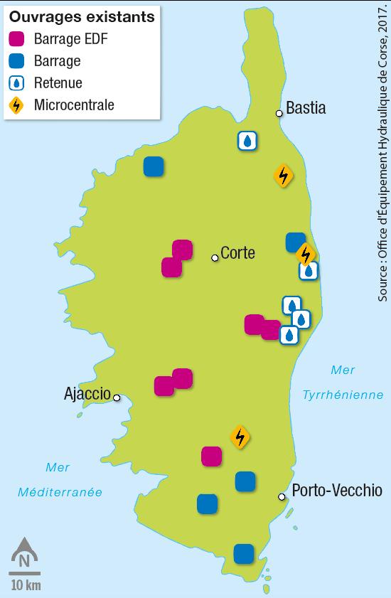 <stamp theme='svt-green1'>Doc. 2</stamp> Les réseaux hydrauliques en Corse et les ouvrages (barrages, retenues, réserves).
