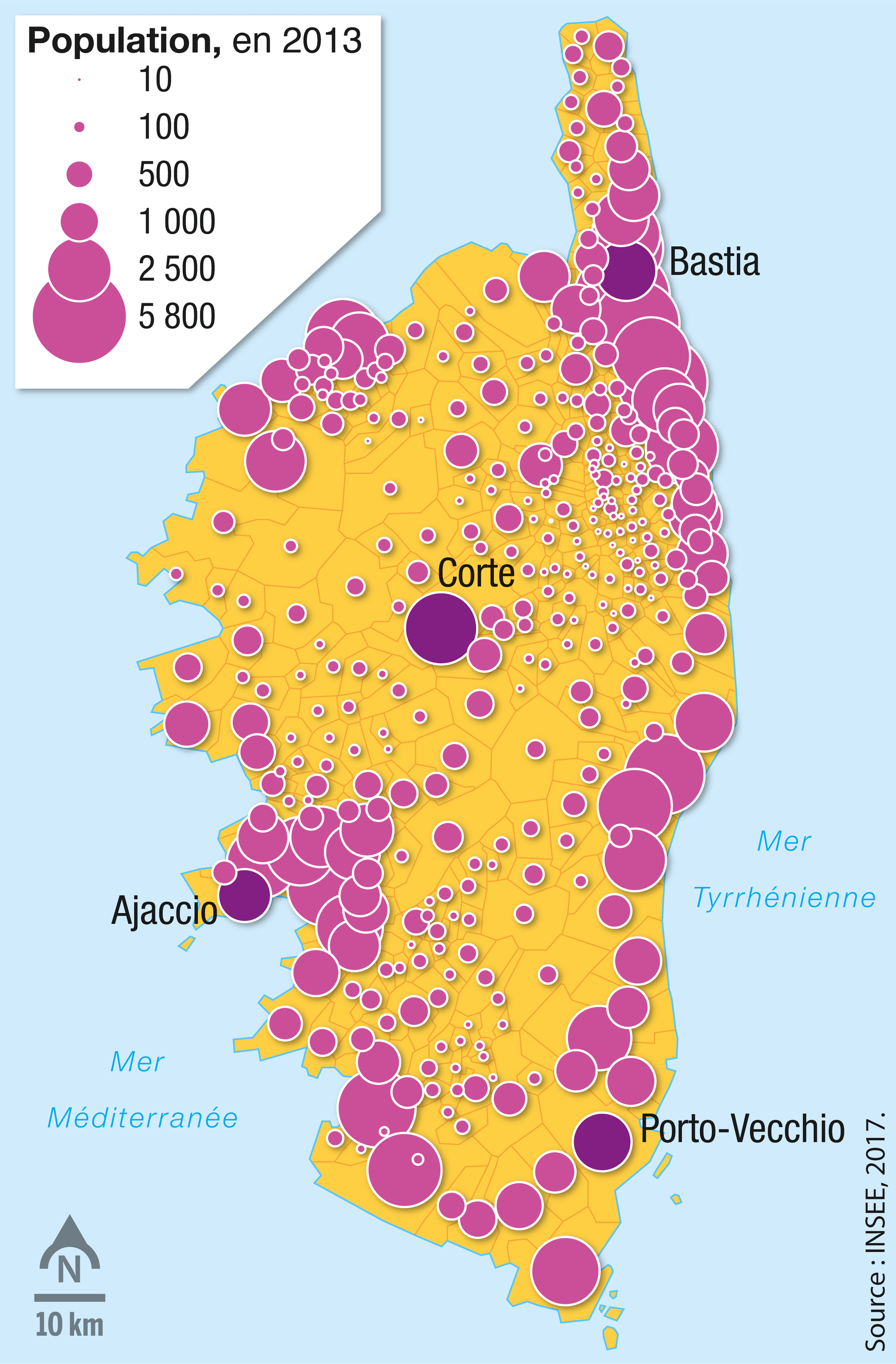 <stamp theme='svt-green1'>Doc. 1</stamp> La densité de population des communes de l'ile.