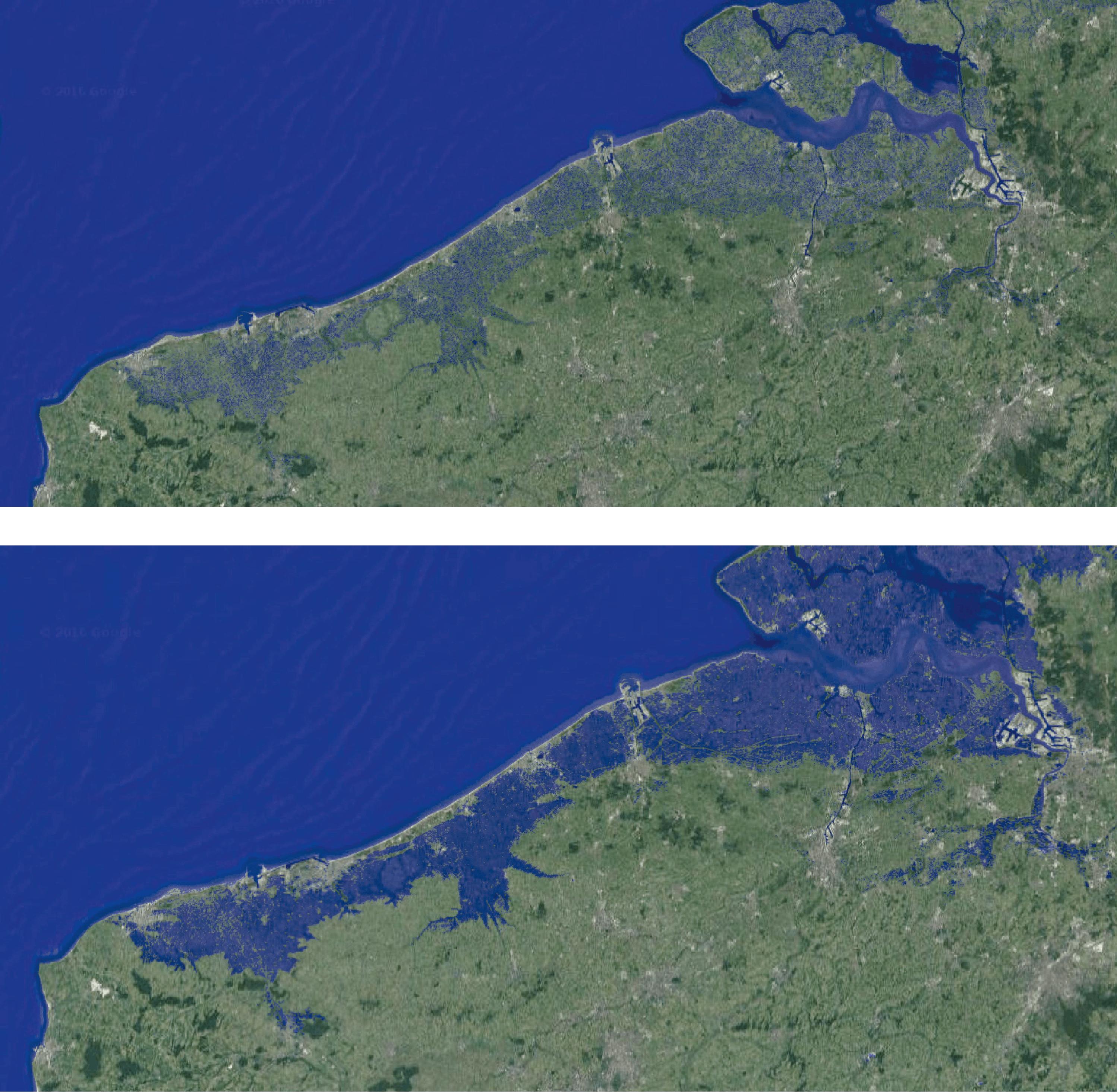 <stamp theme='svt-green1'>Doc. 2</stamp> Le niveau marin actuel et une projection avec une élévation du niveau de 1 m.