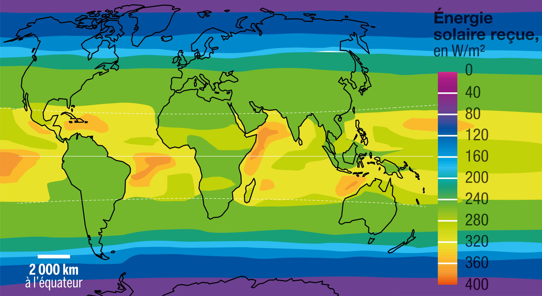 <stamp theme='svt-green1'>Doc. 3</stamp> L'énergie solaire reçue à la surface de la Terre.