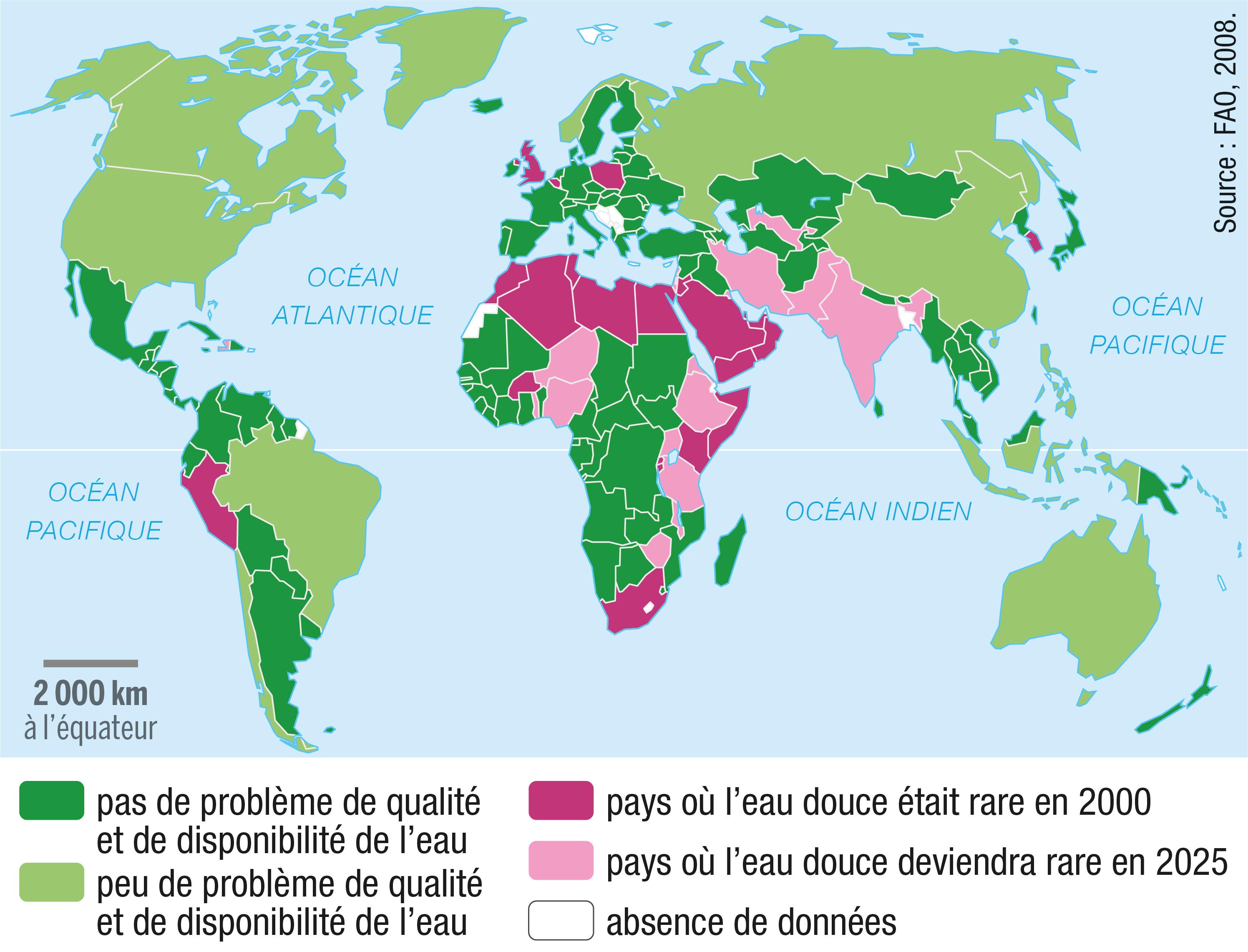 <stamp theme='svt-green1'>Doc. 2</stamp> La disponibilité en eau douce en 2000 et les prévisions pour 2025.