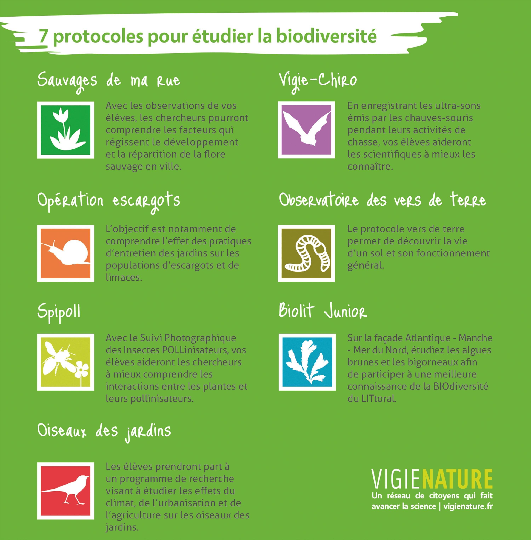 <stamp theme='svt-green1'>Doc. 1</stamp> Sept protocoles pour étudier la biodiversité proposés par le réseau Vigie-Nature.