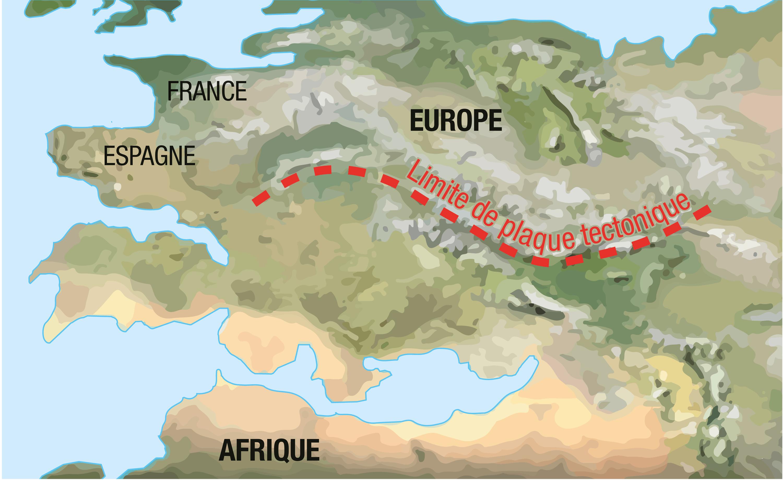 <stamp theme='svt-green1'>Doc. 1</stamp> L'aspect supposé de l'Europe et de l'Afrique dans 100 millions d'années.