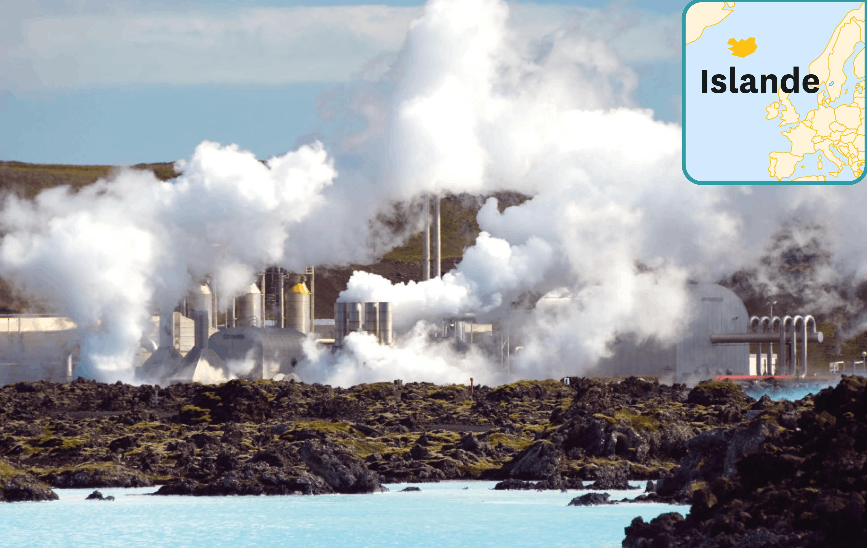 <stamp theme='svt-green1'>Doc. 3</stamp> Le lagon bleu, centrale géothermique et piscine en Islande.