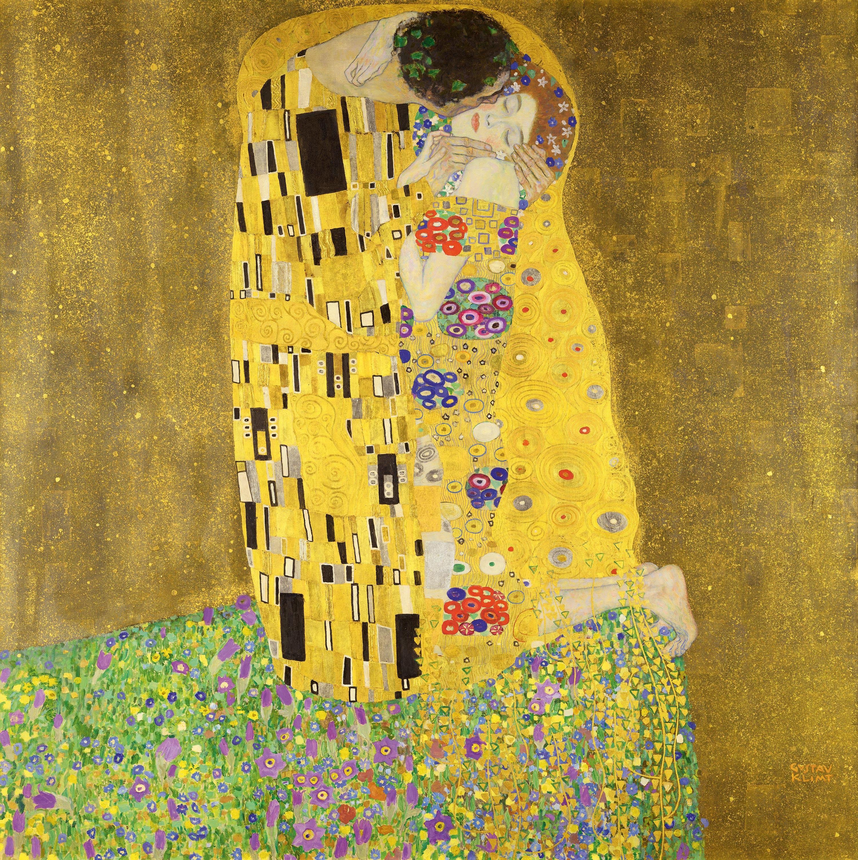 <stamp theme='svt-green1'>Doc. 1</stamp> Le Baiser de Gustave Klimt, 1908, musée du Belvédère, Vienne.