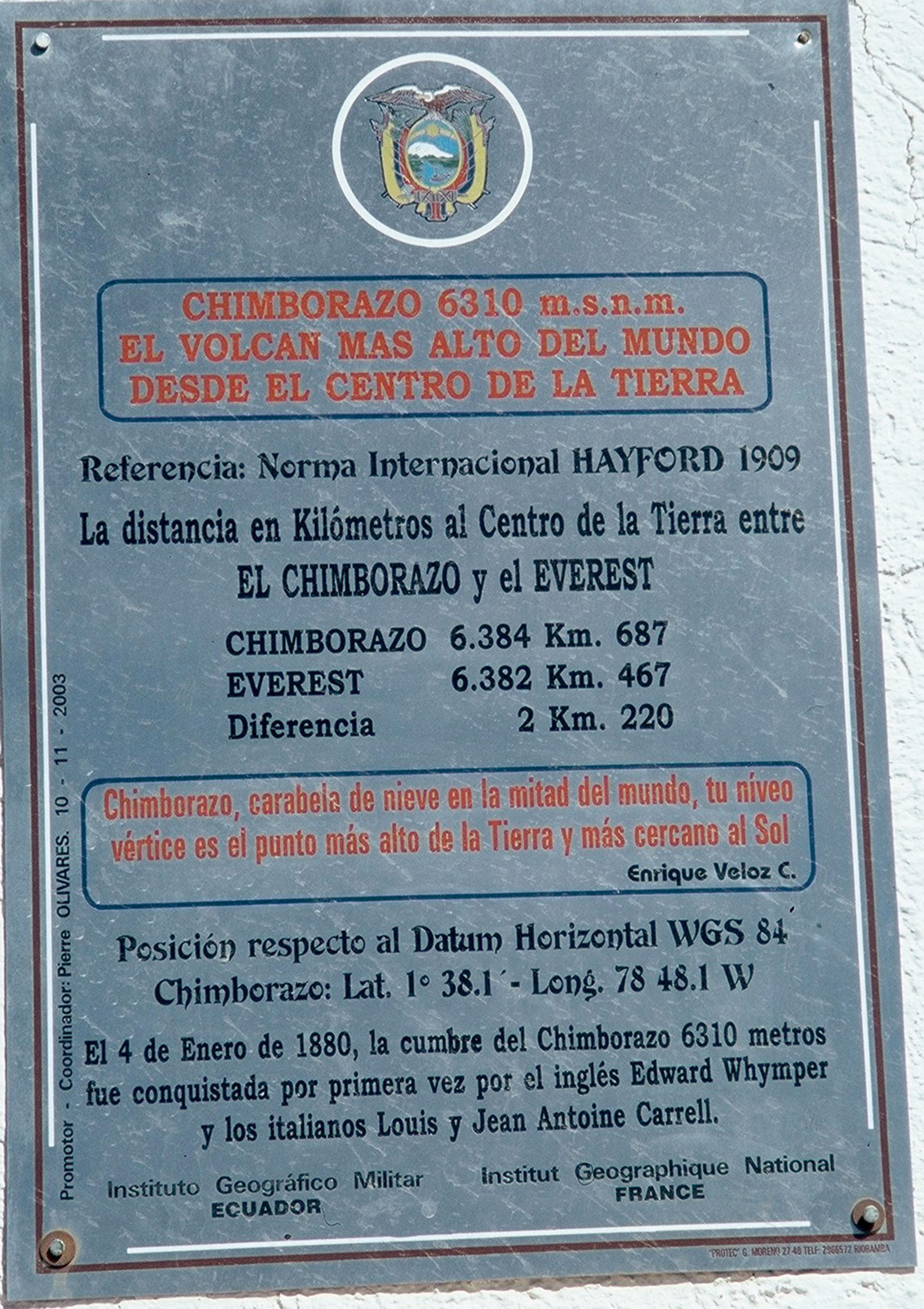 <stamp theme='pc-green1'>Doc. 2</stamp> Plaque posée à proximité du mont Chimborazo, en Équateur.