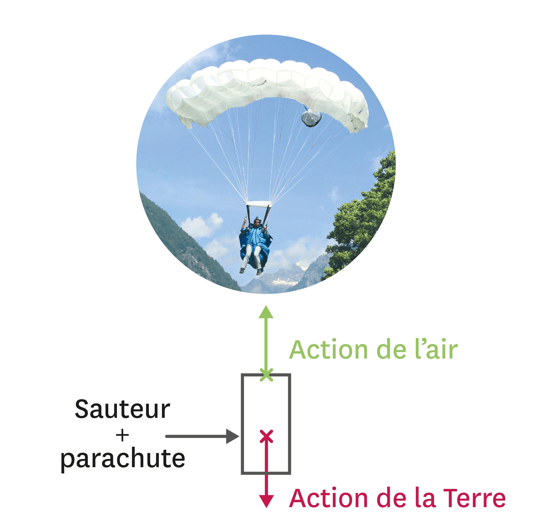 <stamp theme='pc-green1'>Doc. 1</stamp> Modélisation des actions subies par le système « sauteur + parachute ».
