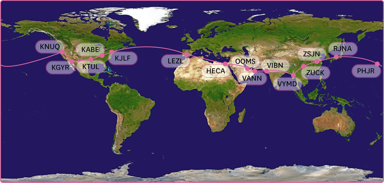 <stamp theme='pc-green1'>Doc. 5</stamp> Itinéraire du tour du monde de Solar Impulse 2.