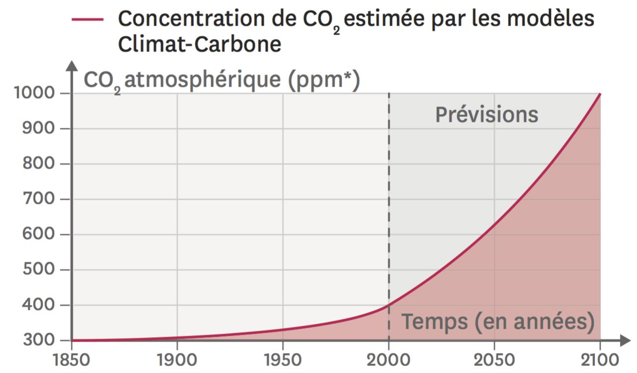 Évolution de la quantité de dioxyde de carbone dans l'atmosphère.