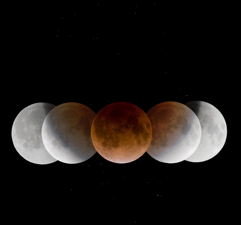 <stamp theme='pc-green1'>Doc. 1</stamp> La Lune à différents moments de son éclipse.