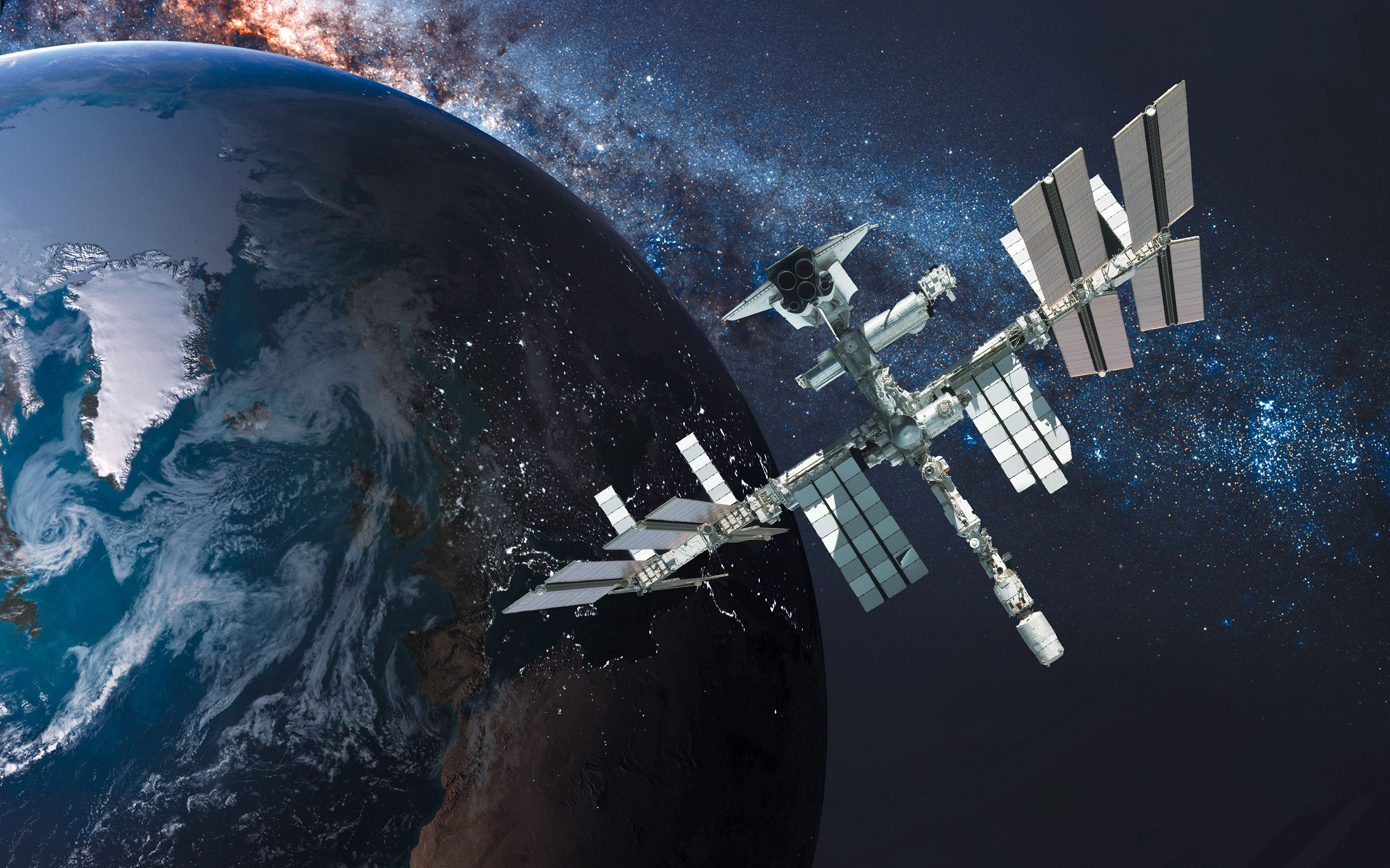 <stamp theme='pc-green1'>Doc. 5</stamp> La Station Spatiale Internationale (ISS).