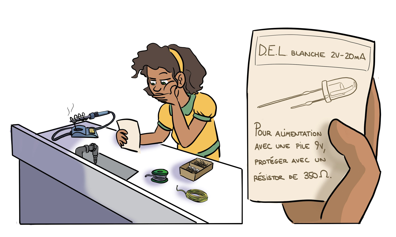 Jade se demande comment la valeur de la tension aux bornes du résistor peut se prévoir à l'avance.