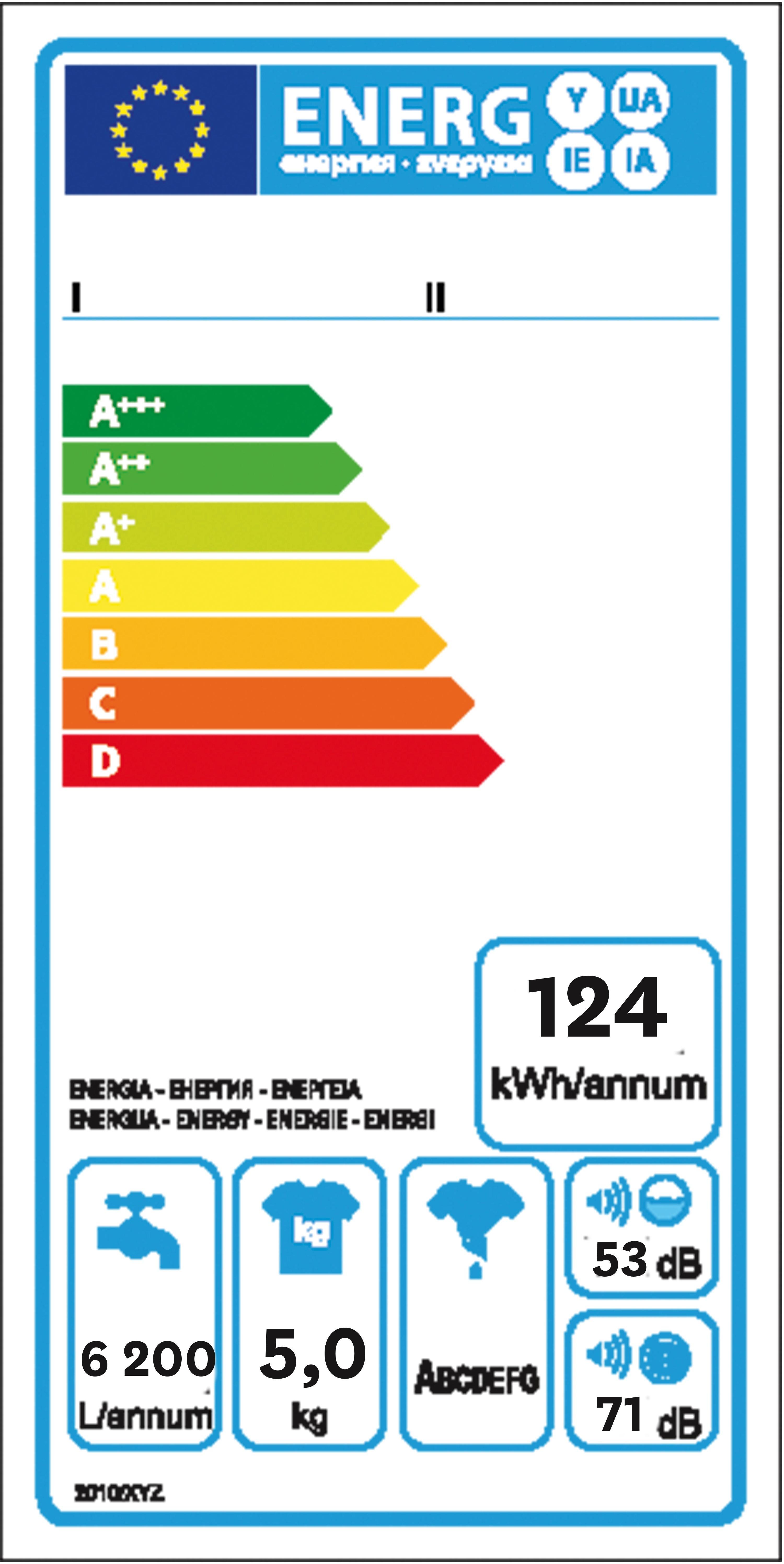Étiquette- énergie incomplète du lave-linge.