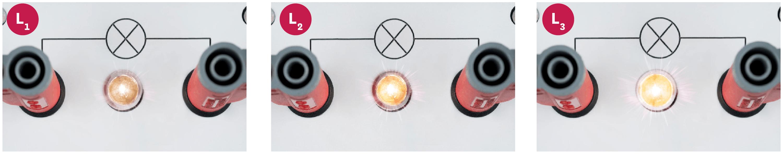 <stamp theme='pc-green1'>Doc. 1</stamp> Pourquoi ces trois lampes ne brillent-elles pas de la même manière ?