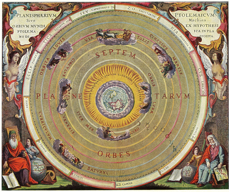 <stamp theme=pc-green1>Doc. 3</stamp> La répartition de la matière dans l'Univers selon le géocentrisme.